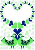 Kort för valentin för förälskelsefågelram Arkivbild