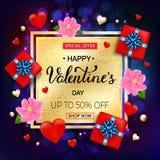 Kort för valentindagförsäljning med hjärtor, blommor, gåvaasken och handen Royaltyfria Bilder