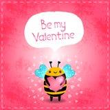 Kort för valentindaghälsning med biet och hjärta Royaltyfri Bild