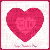 Kort för valentindaghälsning med röd hjärta och wi Arkivfoton