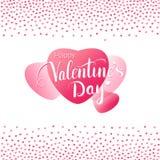 Kort för valentindaghälsning med stora rosa hjärtor Arkivfoton