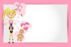 Kort för valentinflickahälsning Royaltyfri Foto