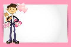 Kort för valentinpojkehälsning Royaltyfria Bilder
