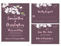 Kort för vattenfärgbröllopinbjudan Royaltyfri Bild