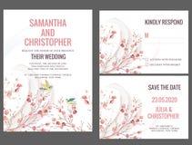Kort för vattenfärgbröllopinbjudan Arkivbilder