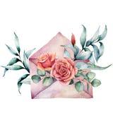 Kort för vattenfärgfödelsedagdekor med kuvertet och den rosa buketten Hand målade eukalyptussidor som isoleras på vit vektor illustrationer