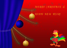 Kort för vektor för träd för jul för nytt år för tuppår Arkivfoton