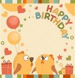 Kort för vektorfödelsedagparti med gulliga fåglar Royaltyfria Bilder