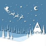 Kort för vektorillustrationhälsning för vinterferier claus renar santa vektor illustrationer
