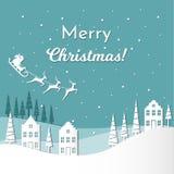 Kort för vektorillustrationhälsning för vinterferier Santa Claus med renar och släde på natthimmel glad jul stock illustrationer