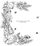 Kort för vektorillustrationzentangl med ramblommor Klotterblommor, vår, smycken som gifta sig Anti-färgläggningbok stock illustrationer