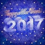Kort för vektorjulhälsning med bakgrund för bokstäverlyckönskanblått Snöflingor och lyckligt nytt år för 2017 text Arkivfoton