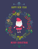 Kort för vektorjulhälsning med Santa Claus och en julgirland Royaltyfri Foto