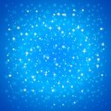 Kort för vektorjulhälsning med snöflingor på blå bakgrund Royaltyfri Fotografi
