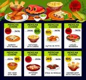 Kort för vektormenypris för mexicansk kokkonst stock illustrationer