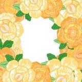 Kort för vektortappninghälsning med gula blommor Royaltyfri Bild