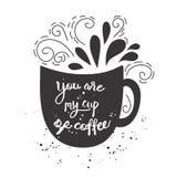 Kort för vektortappningstil med koppkonturn och text - du är min kopp kaffe Royaltyfri Fotografi