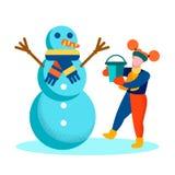Kort för vintertid för för tecknad filmflicka och snögubbe lyckligt stock illustrationer