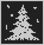 Kort för vit jul med trädet Arkivfoton
