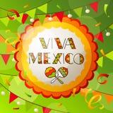 Kort för Viva Mexico abstrakt begrepphälsning Arkivfoton