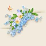 Kort för blommaförgätmigejhälsning Royaltyfria Bilder