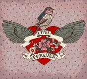 kort för Gammal-skola stiltatuering med fågeln, blommor och bandet, Vint Arkivbild