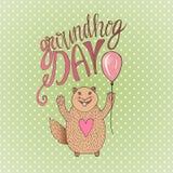 Kort för gåva för Groundhog dag Hand dragen härlig le hamster också vektor för coreldrawillustration Kan användas för tryck, häls Arkivfoto