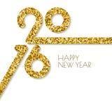 Kort för hälsning för lyckligt nytt år 2016 för vektor fyrkantigt med guld- glit Royaltyfri Foto
