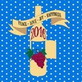 Kort 2016 för hälsning för tappning för nya år för vektor retro Royaltyfria Bilder