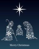 Kort för julNativityhälsning Royaltyfri Foto