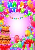 Kort för lycklig födelsedag med stället för text Arkivfoto