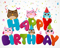 Kort för lycklig födelsedag med ugglan Arkivfoton
