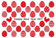 Kort för nytt år av hanar och ägg ägg med dekorativ design Arkivbilder