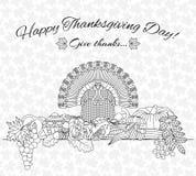 Kort för tacksägelsedaghälsning Olika beståndsdelar för design den främmande tecknad filmkatten flyr illustrationtakvektorn Royaltyfri Bild