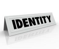 Kort för tält för personligt tecken för identitet särskiljande känt Fotografering för Bildbyråer