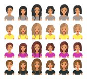 Kort hår för härligt för ung kvinna mode för stående modernt och lång hårbrunett, blont, ljust - brunt och kastanjebrunt hår vekt vektor illustrationer