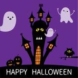 kort halloween Spökad huskontur med ögon, fönster, pumpor, ugglan och att flyga genomskinliga lodisar för spökeBoo Funny Cute tec royaltyfri illustrationer