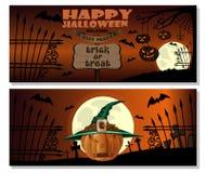 kort halloween Stålarnolla-lykta i häxahatt stock illustrationer