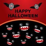 kort lyckliga halloween Slagträn monster Svart och Royaltyfri Foto