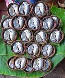 Kort makrill som är förberedd som plommoner Thu på bambukorg i Samut Songkhram Thailand Royaltyfria Bilder