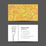 Kort med bilden av pasta och logo med en gaffel royaltyfria foton
