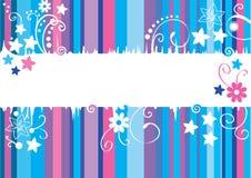 Kort med blåa och violetta linjer och blommor Arkivbild