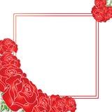 Kort med blommor och ställe för text Arkivbilder