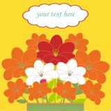Kort med buketten av blommor Vektor Illustrationer