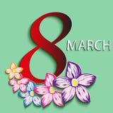 Kort med dag på mars 8 Royaltyfri Fotografi
