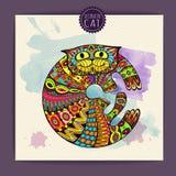 Kort med den dekorativa katten Arkivbild
