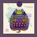 Kort med den dekorativa katten Royaltyfria Bilder