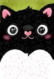 Kort med den gulliga feta katten royaltyfri illustrationer