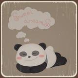 Kort med den gulliga pandan. Arkivbilder