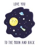 Kort med den gulliga tecknad filmmånen i den stjärnklara himlen för natt Inskriftförälskelse dig till månen och baksidan stock illustrationer